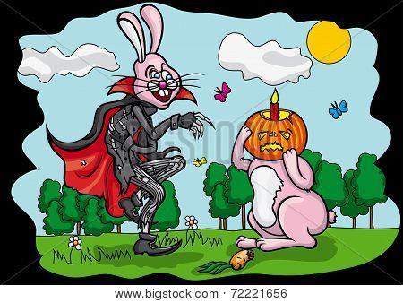 Halloween Pumpkin Jack and Easter Rabbit