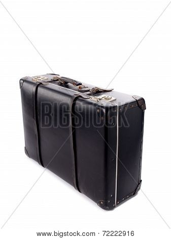 An Old Black Vintage Leather Suitcase With Straps And Locks