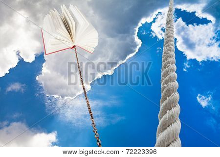 Rope Rises To Sky And Book Tied On Rope