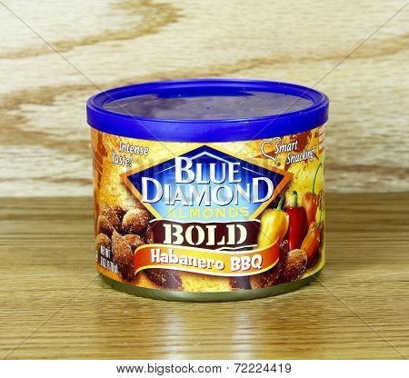 Can Of Blue Diamond Habanero Almonds