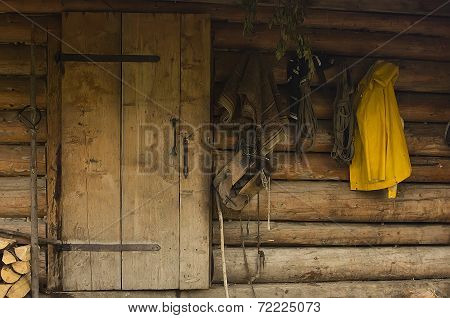 cowboy background, wooden wall with a rural clothing