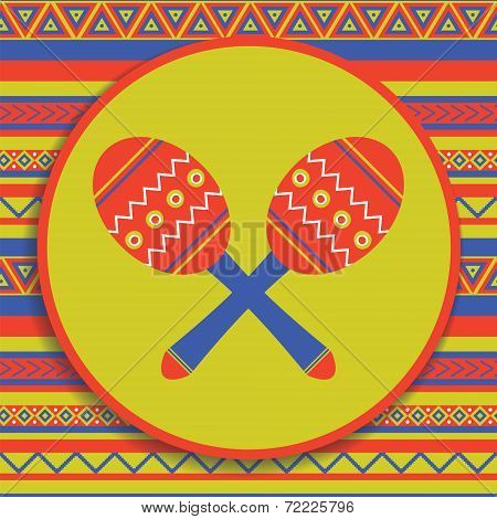 Maracas On Patterned Background