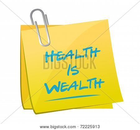 Health Is Wealth Memo Illustration Design