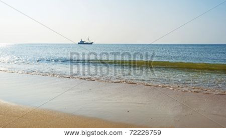 Trawler fishing in the North Sea in summer