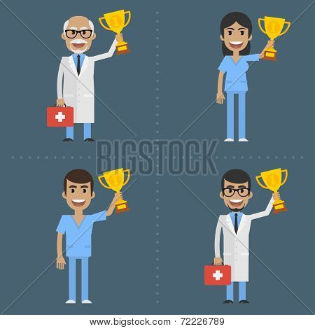 Doctor and nurse holding cup