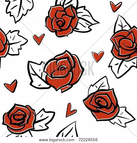 roses and hearts seamless pattern