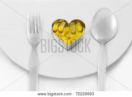 Fish Oil Heart On Dish Menu