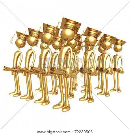Golden Grad Group Graduation Concept