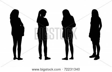 People Standing Outdoor Silhouettes Set 16