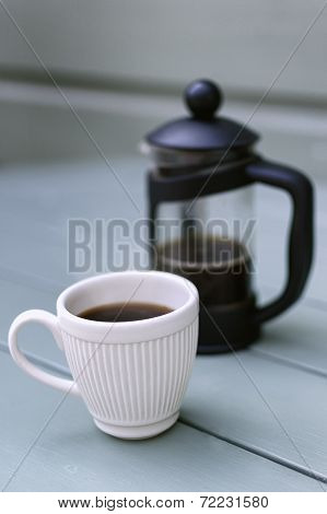 French Press with White Espresso Cup