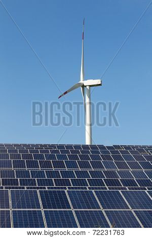 Solar Panels And Wind Turbine For Renewable Electricity Production
