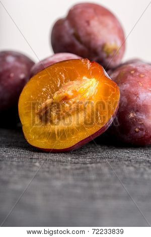 Fresh Ripe Halved Plum