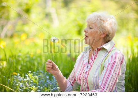 Senior Woman With Dandelion