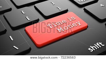 Time is Money on Red Keyboard Button.
