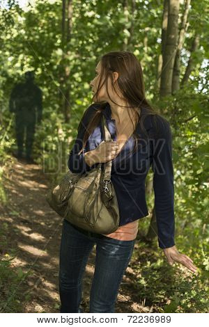 Paranoid Woman In Fores