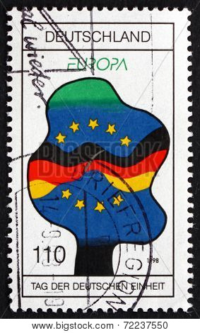 Postage Stamp Germany 1998 Flags Of Germany And Eu