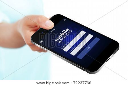 Mobile Phone With Mobile Banking Log In Page Holded By Hand Isolated Over White