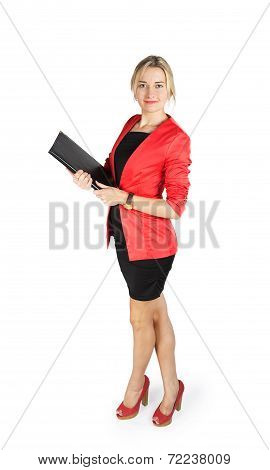 Business Woman In A Red Jacket With A Black Folder In Hands