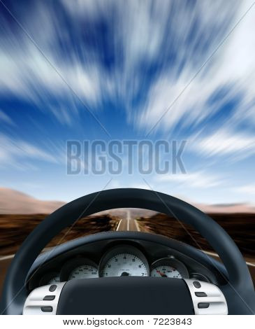 Steering Wheel On A Highway