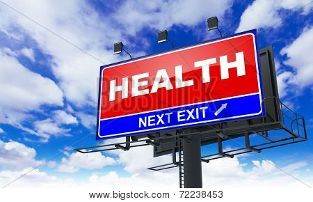 Health Inscription on Red Billboard.