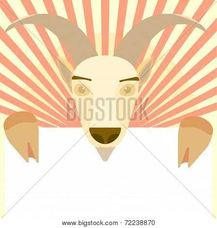 Goat Animal holding white blank symbol of New Year 2015 greeting card Christmas celebration trendy c