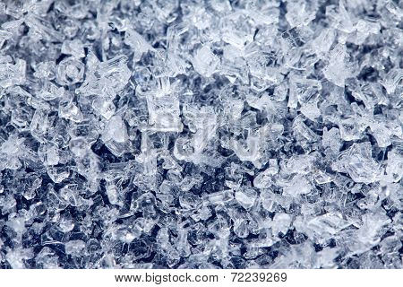 Ice Crystals On A Dark Colored Background