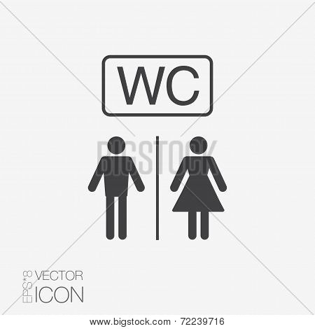 Vector restroom icons: lady, man. Toilet icon