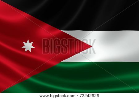 Close-up Of The Hashemite Kingdom Of Jordan's Flag