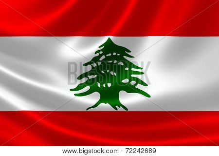 Close-up Of The Lebanese Republic's Flag