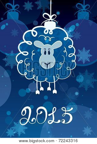 Funny Sketching Sheep - Symbol Of The New Year 2015. Vector Postcard