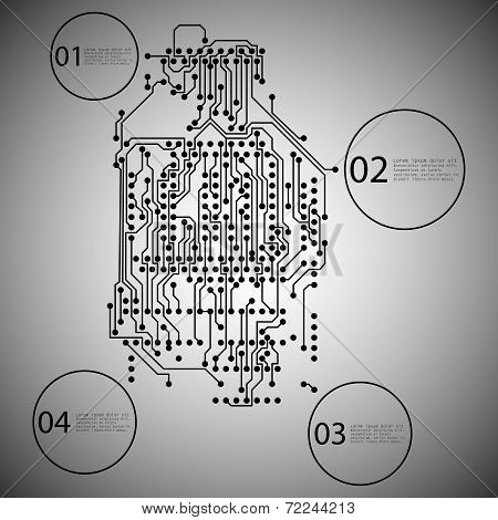 Microchip background, infographic design of an electronic circuit, EPS10 vector illustration