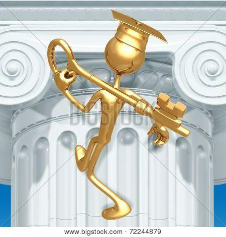 Golden Grad Carrying A Key Graduation Concept