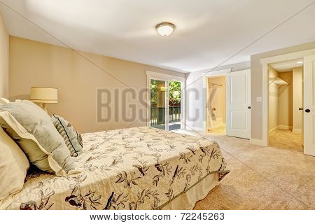 Spacious Master Bedroom Interior With Walkout Deck