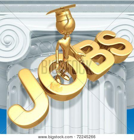 Golden Grad With Doubts On Job Market Graduation Concept