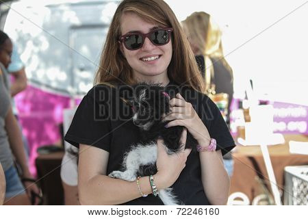 Woman with new friend