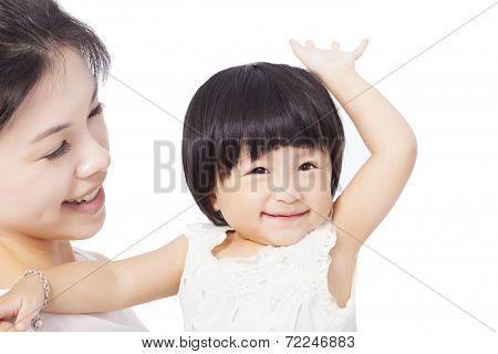 Happy asian Mother and Smiling Child Baby