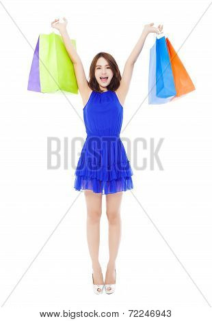 happy and Beautiful Young Woman With Shopping Bags.