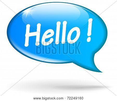 Blue Hello Speech Bubble