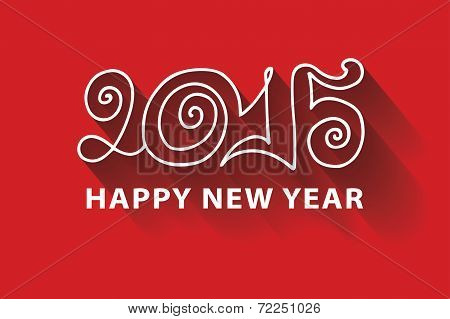 Happy New year 2015.Curly doodle Figures
