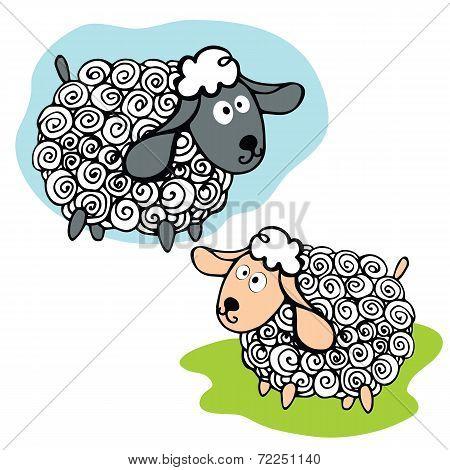 Cartoon funny curly sheeps set.Symbol 2015 Year