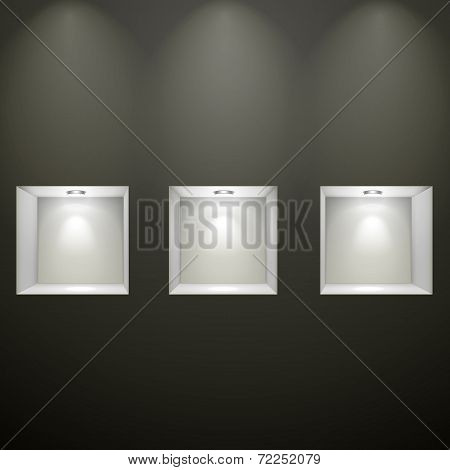 Black Wall With Empty Niches
