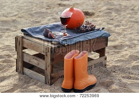 Autumn scenery on the wine box on the beach