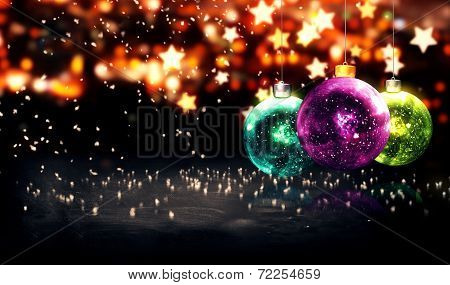 Hanging Baubles Christmas Yellow Star Night Bokeh Beautiful 3D