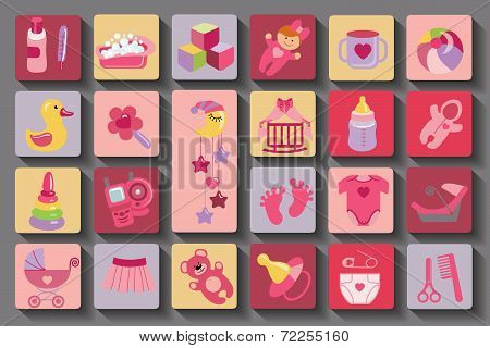 Newborn Baby girl set.Flat Icons with long shadow