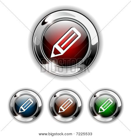 Pen icon, button, vector illustration.