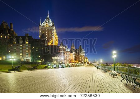 Chateau Frontenac In Quebec City At Night, Canada
