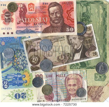 Closeup Of Vintage European Currency