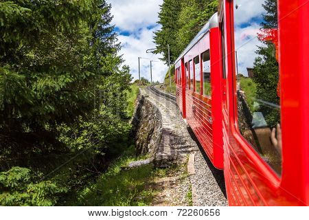 Montenvers  Red Train Taking To Chamonix Ice Sea In France