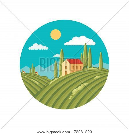 Agriculture landscape with vineyard. Flat style design.