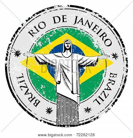 Rio Theme Stamp With Statue Of The Christ The Redeemer Illustration